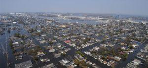 Vue des quartiers populaires de la Nouvelle Orléans après le passage de l'ouragan Katrina, 2005
