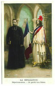 Affiche allégorique figurant la séparation de l'Eglise et de l'Etat.